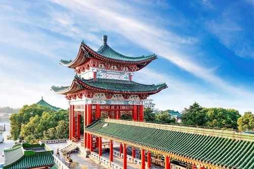 blue sky and white clouds ancient chinese architecture 43407474 Large